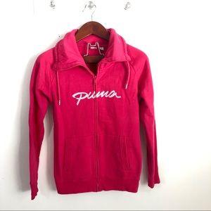 Puma Zip-Up Sweatshirt Full Zip Pink Spellout S